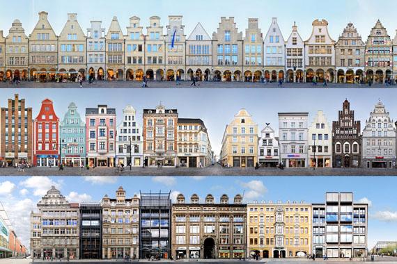 Jörg Dietrich: Münster Prinzipalmarkt, 2018 Rostock Kröpeliner Straße, 2013 Leipzig Grimmaische Straße, 2013 © panoramastreetline.com